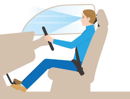 Driving posture of a car Illustration