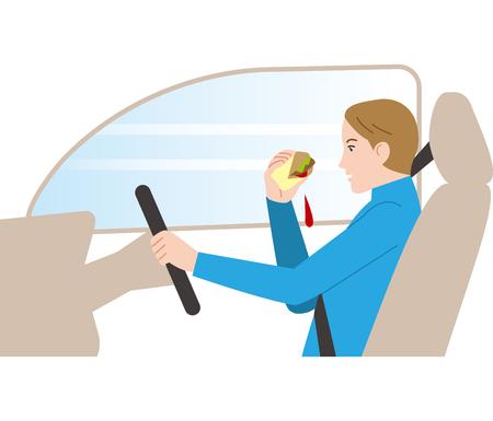 Gefährliches Fahren. Autofahren beim Essen. Vektorgrafik