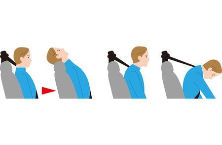 Accident de collision par le dos et appui-tête bas. coup de fouet.