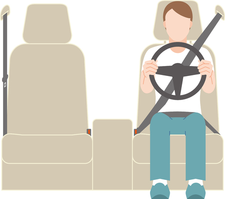 man driving a car on the left steering wheel Ilustrace