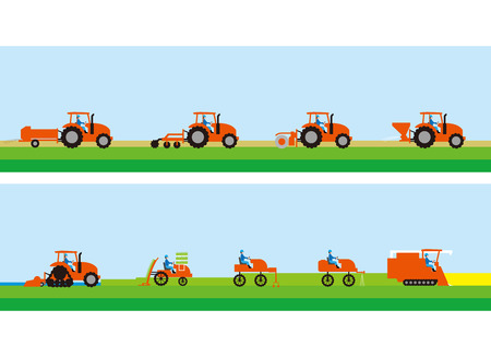 Tractor for agriculture and rice cultivation Illustration