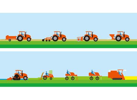 Trattore per agricoltura e coltivazione del riso Vettoriali