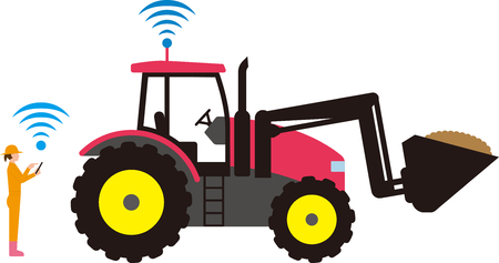 Automated agricultural tractor  イラスト・ベクター素材
