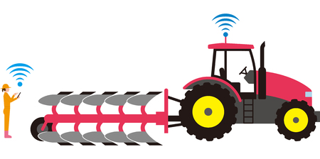 Automated agricultural tractor Ilustrace