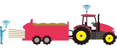Automated agricultural tractor Illustration