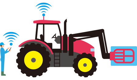 Smart agriculture. Automated agricultural tractor  イラスト・ベクター素材