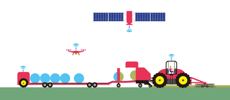 Smart agriculture. Automated agricultural tractor Stock Illustratie