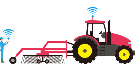 Smart agriculture. Automated agricultural tractor Çizim