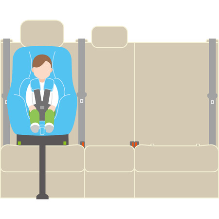 child sitting on a car seat
