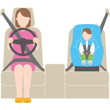 Child seat and drive Illustration