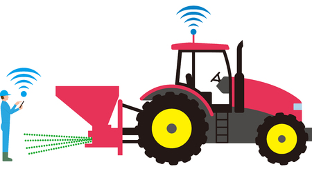 Smart agriculture. Automated agricultural tractor Illustration