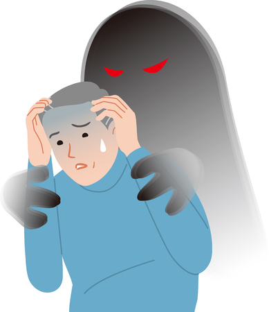Elderly people with anxiety symptoms Illustration