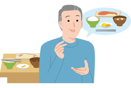 Forget to eat. An elderly man with memory impairment symptoms