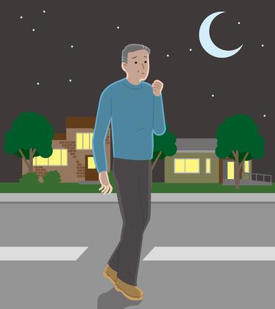 Senior man wandering around