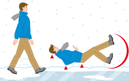 A man who falls on a frozen road Ilustrace
