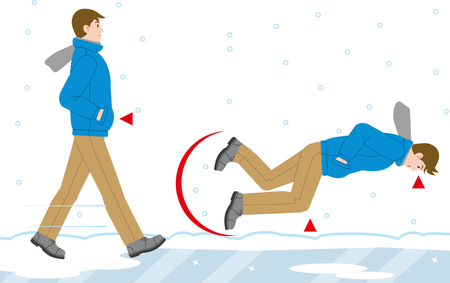 A man who falls on a frozen road Illustration