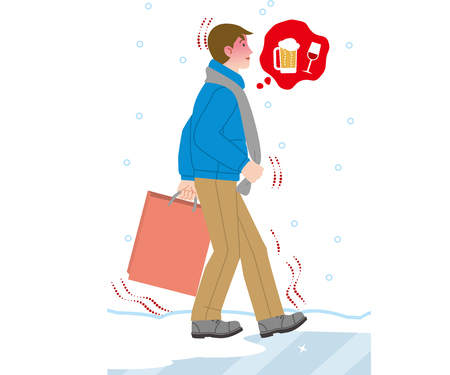 man walking on a frozen road thinking about drinking Illustration