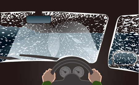 Weather with snowstorm. Drive with the headlight in the high beam. Illustration