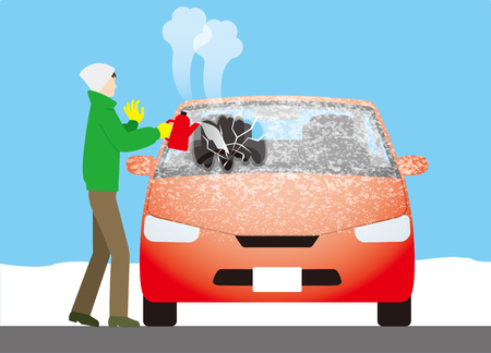 It is dangerous to melt the frost on the windshield of the car with hot water