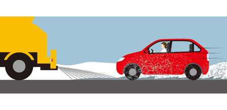 Dirt by snow melting agent spraying of car Illustration
