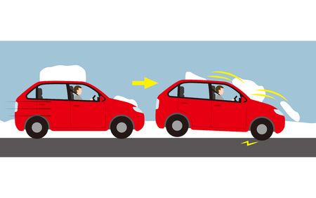 Danger from running with snow on car roof Illustration