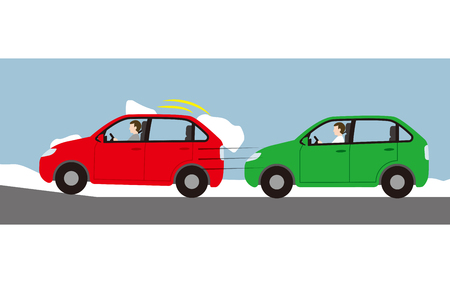 Danger from running with snow on car roof Ilustrace