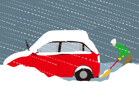 Prevention of automobile exhaust gas poisoning by snowfall Illustration