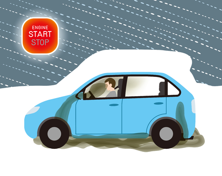 Exhaust gas poisoning of car by snowfall
