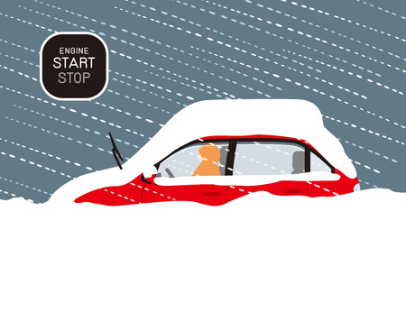How to deal with a car that is buried in snow due to a stormy snow