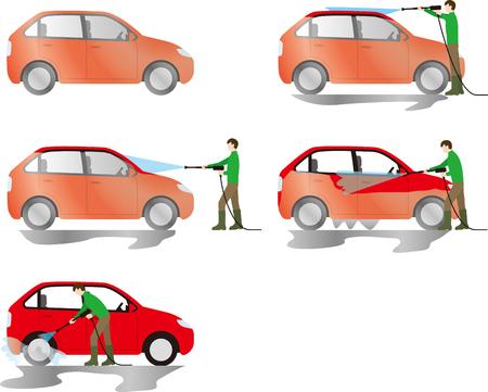 Men washing dirty cars