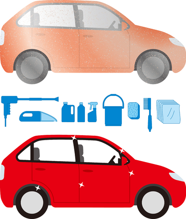 Dirty cars and car wash tools Иллюстрация
