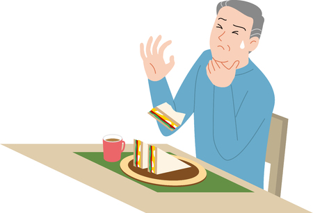 Home accident of the Elderly. Choking on food. Banco de Imagens - 121944907