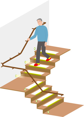 Domestic accident measures by stairs of elderly people Ilustrace