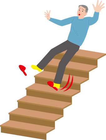 Home accident of the Elderly.Falling from the stairs. Illustration