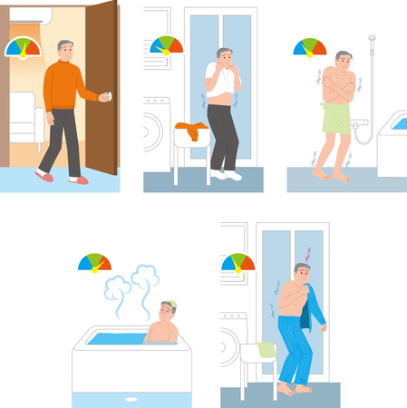 Home accident of the Elderly. Temperature difference when taking a bath Çizim