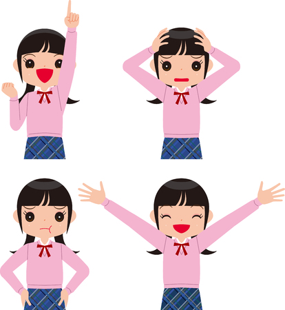 Facial expression of girl in uniform Ilustrace