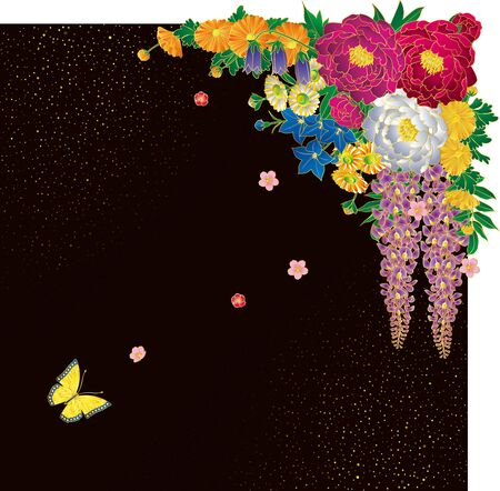 Japanese style bouquet and butterfly. Background material. Ilustrace