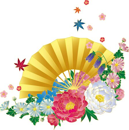Japanese style bouquets and fans. Background material. Ilustrace