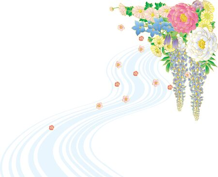 Japanese style bouquet and water flow. Background material. Ilustrace