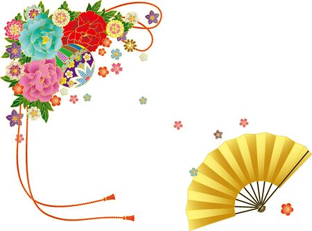 Japanese-style bouquet and folding fan. Background material