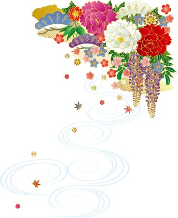 Japanese-style bouquet and running water. Background material