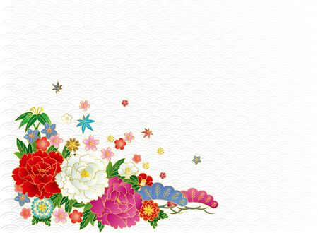 Japanese bouquet and Aominami. Background material. Ilustrace
