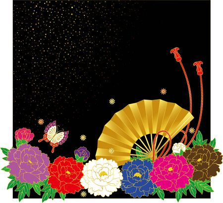Japanese style flower and fan. Background material. Vector illustration Ilustração