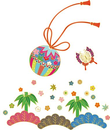 Japanese style ball and butterfly. Background material. Vector illustration Ilustrace