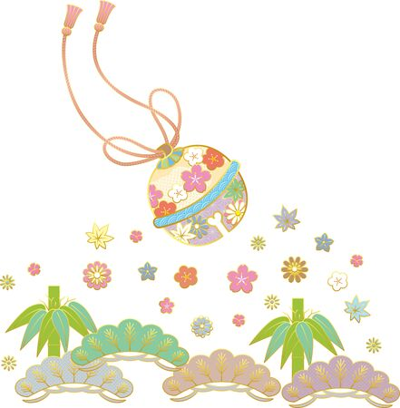 Japanese style bell and flower. Background material. Vector illustration