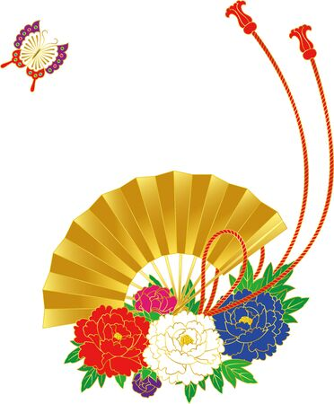 Japanese style flower and fan. Background material. Vector illustration Ilustrace