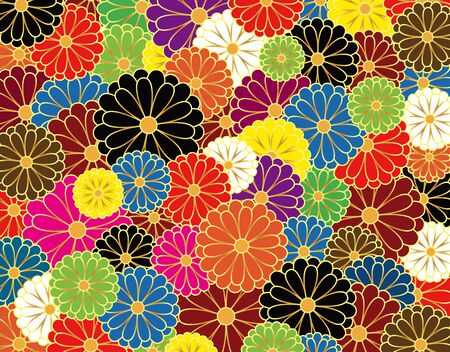 Japanese style chrysanthemum. Vector background material.