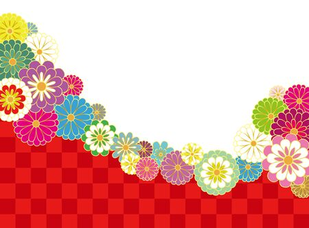 Japanese style chrysanthemum and dot pattern. Vector background element