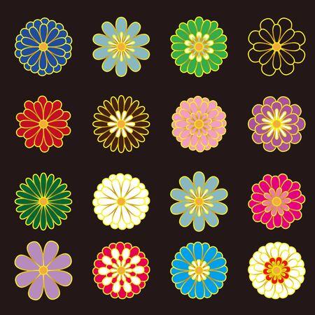 Japanese style chrysanthemum. Vector illustration. 일러스트