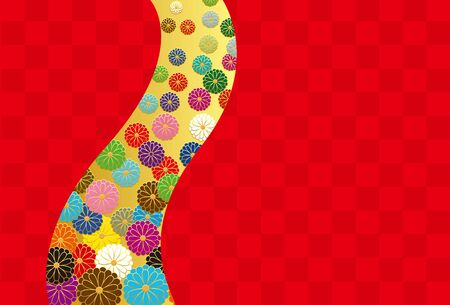 Japanese style chrysanthemum and checkered pattern. Vector background material.